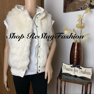 ⭐️Divided by H&M White Faux Fur Hoodie Vest Sz 10